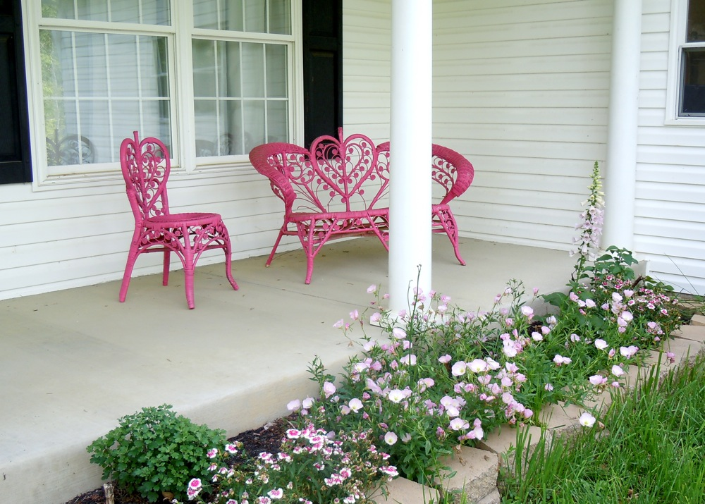 View of the painted furniture on the front porch in Spring of 2011.