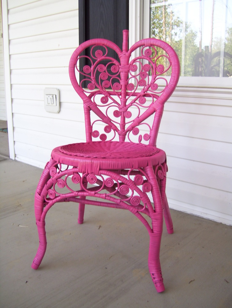 Wicker chair after being painted