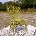 Wicker chair before being painted.