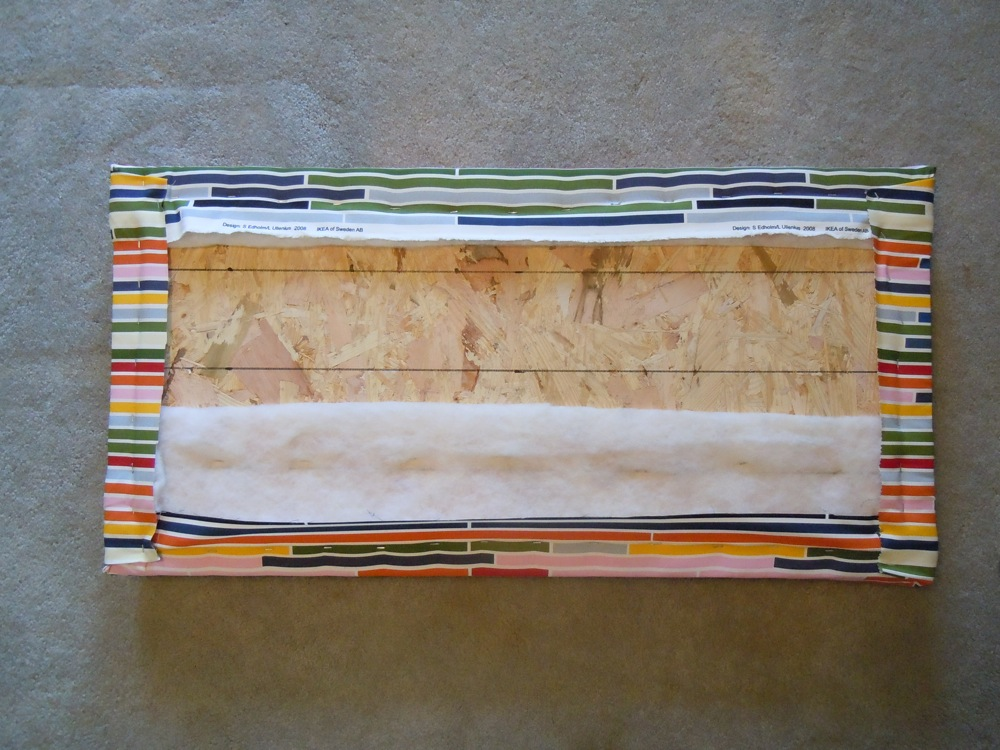 Fabric stapled to back of plywood headboard