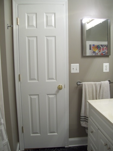 Looking towards the door, guest bathroom