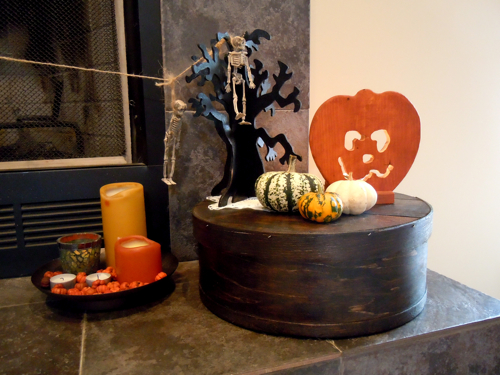 Fireplace Vignette with stained cheese box
