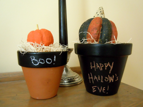 Halloween Chalkboard Flower Pots