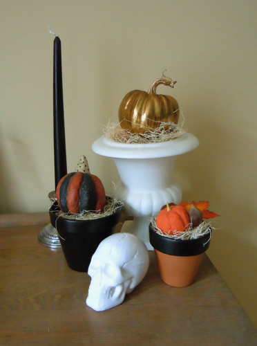 Table Vignette with gilded pumpkin and chalkboard pots