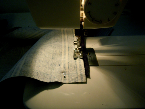 Sew fabric in straight lines