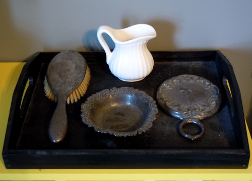 Tray with antique set