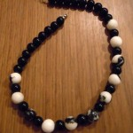Zebra stone and glass necklace