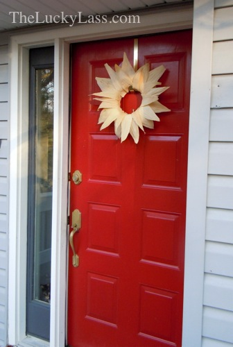 Front door with corn husk wreath