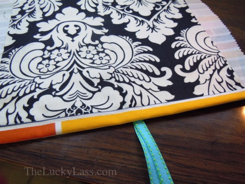 Fold over fabric and sew