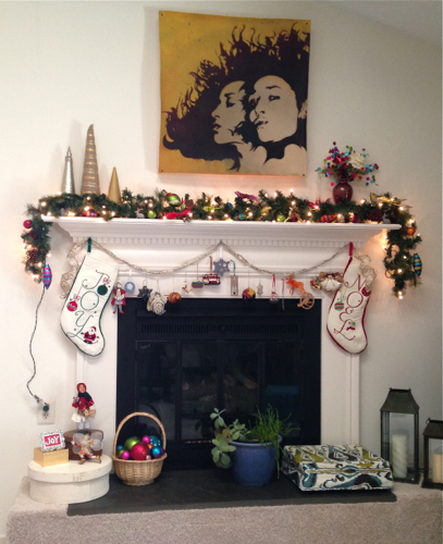 Decorated Mantle and Hearth Dec 2014