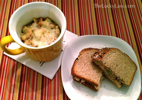 Chicken Salad Sandwich and French Onion Soup