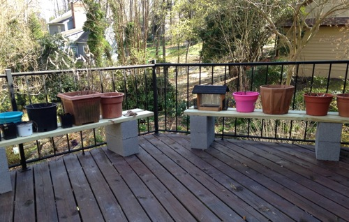 Benches for veggie planters